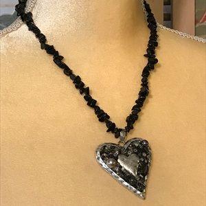 Black Heart Necklace BoHo Goth Romantic CJ Jewelry